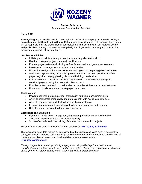 Commercial Construction Senior Estimator Spring 2019 ...